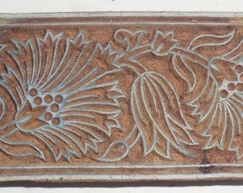 Vintage wood Block Stamp For Textile / Fabric Handmade & Hand Carved For Printing By Hand On Textiles /Fabric #Te-4