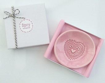 Ring Dish - Trinket Dish - Jewelry Dish - Pink Heart Pastel Ceramic