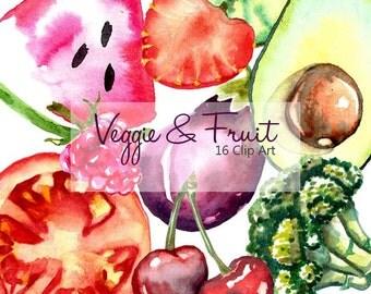 Fruit clipart veggie illustration fruit digital slice of fruit illustration vegetables watercolor clipart fruit hand painted slice tomato