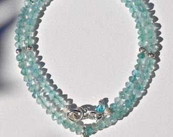 Moss aquamarine pendant, aquamarine necklace, aquamarine, march birthstone jewelry, aquamarine jewelry, sterling silver necklace, blue stone