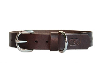 Classic Brown Leather Dog Collar