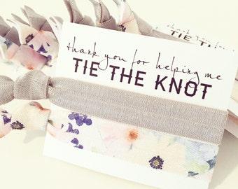Hair Tie Bridesmaid Gift | Gray + Violet Floral Hair Tie Gift, Bridesmaid Gift Hair Tie Favor, Floral Bridal Shower Favor, Neutral Gray Grey