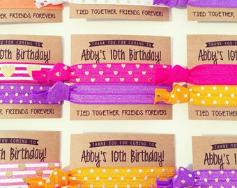 Custom Birthday Party Hair Tie Favors | Custom Birthday Hair Tie Favors, Personalized Party Favors, Girls Sleepover Party Pink Purple Orange
