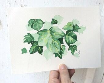Original watercolor painting Leaves watercolor art FLoral watercolor Handpainted Original art watercolor
