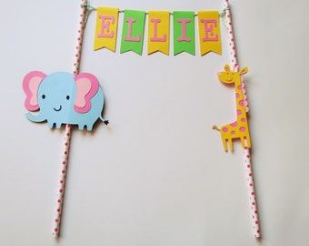 Personalized Birthday Bunting Cake Topper