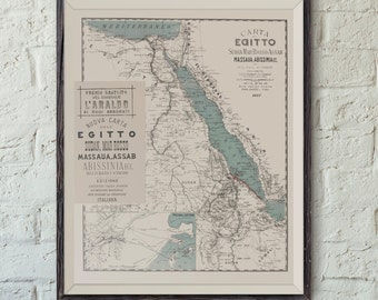 Map of Africa including Egypt & Sudan - Carta dell Egitto - Vintage Map Print - Map Poster