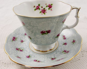 "Royal Albert ""True Love"" Blue Tea Cup and Saucer with Pink Roses and White Lace, Vintage Bone China"