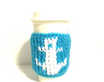 Anchor cup sleeve, nautical cup sleeve, coffee cup sleeve, coffee cup cozy, crochet anchor cozy, crochet cup sleeve, turquoise cup cozy