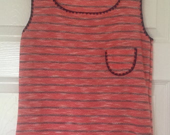 Vintage Sleeveless Top/Vest/Tank in Red and Blue