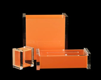 Vintage Mid Century George Bullio Orange Lucite Waste Basket, Tissue Box and Toothbrush Holder