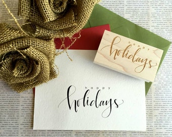 Happy Holidays Rubber Stamp - Hand-Lettered - FREE Standard Shipping!!