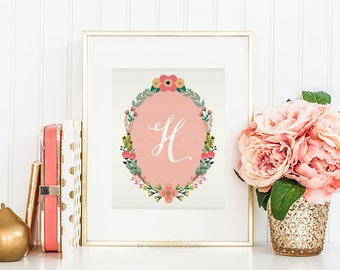 Nursery Monogram Letter H Wall Art Letter H Art Monogram Art Floral Monogram Art Baby Shower Gift Printable Monogram Calligraphy Girls Room