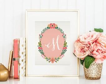 Nursery Monogram Letter M Wall Art Letter M Art Monogram Art Floral Monogram Art Baby Shower Gift Printable Monogram Calligraphy Girls Room