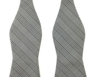 Men's Bow Tie. Grey Plaids Self Tied Bow Tie. Wedding Self Tie Bowtie. Untied Bow Tie. Tuxedo Untied Bow Tie. Groomsmen Bow Tie.