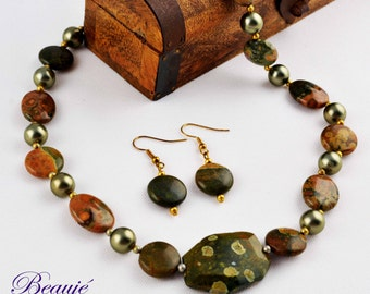 Green necklace Brown Gemstone jewellery Semi-precious necklace Beauje Handcrafted Unique Designer Vermeil Gift Box