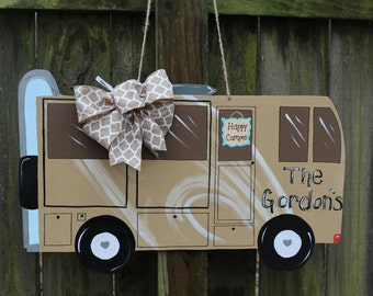 Happy Campers RV Wooden Door Hanger