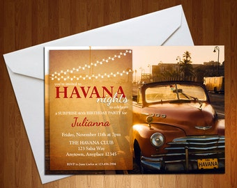 Havana Nights Invite - Havana Nights Party - Suprise Party - Salsa Party - Havana Nights - Birthday Invitation - Digital Invite - Download