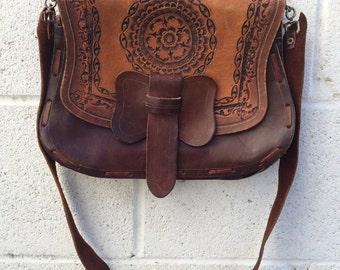 1970's hippie handmade tooled leather shoulder bag