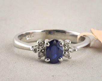 Oval Sapphire Ring with Diamond Accents in 14k White Gold