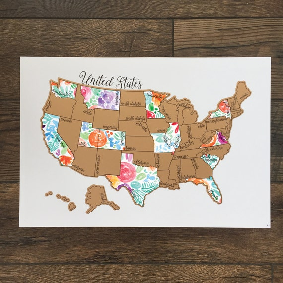 Rose Less Traveled United States Of America Usa Us Watercolor Scratch Off Map