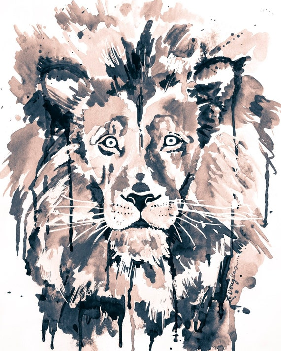 Wild Lion B&W- Giclee Print of an original Kristin Douglas.