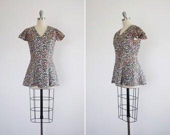 Frolic playsuit • vintage 1960s floral mini dress • 60s floral beach set