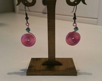 Pink wire earrings
