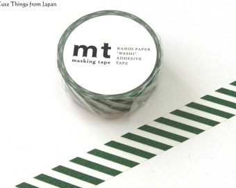 NEW Cobalt Green Stripes mt Washi Tape, Masking Tape, Japanese Tape [MT01D243]