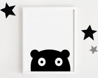 Black & white nursery poster bebe INSTANT DOWNLOAD printable art Cute animal illustration Kawaii baby room art Bear Digital print 50x70