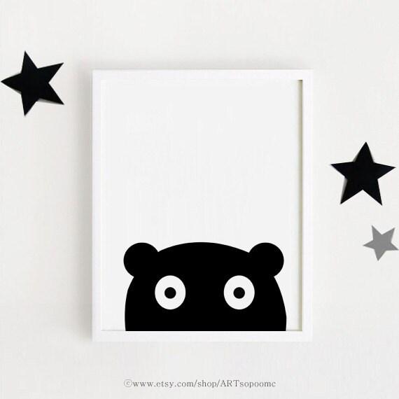 chambre denfant noir et blanc affiche bebe instant download. Black Bedroom Furniture Sets. Home Design Ideas