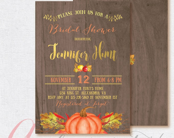 Bridal shower invitation. Rustic Bridal Shower Invitation, Fall Pumpkin Bridal Shower Invitation. Fall in love invitation. Printable