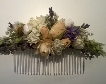 LARGE Bespoke Floral Comb.  Dried Flowers, Made in any colour, Wedding Hair Piece, Bride, Bridesmaid, Flowergirl, Flower Clips Accessory