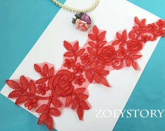 BIG Size Red Lace Applique, Embroidery Rose Lace Applique, Bridal Rose Applique, Ivory and Red, Sell By Pair(AL140)