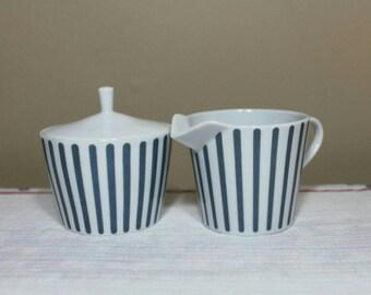 """Mid Century Sugar Bowl And Creamer by Melitta, Designed by Jupp Ernst, """"Zurich"""" Pattern"""