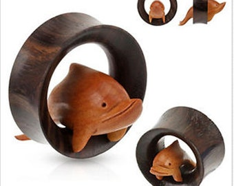 Hand Carved Dolphin Inside Organic Sono Wood Saddle Fit Tunnels (Buy 2 Pairs Get 1 Free!)