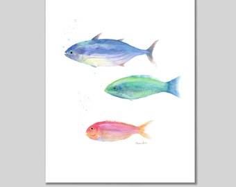 3 Fish Painting Print, Watercolor Painting Print, Fish Art, Wall Art