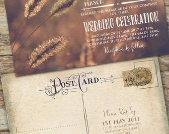 Personalised Rustic Photographic Autumn Vintage Postcard Wedding Invitations