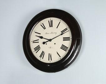 "Large Antique 21.5"" James Murray Mahogany Railway Station School Wall Clock (Chiming / Striking)"