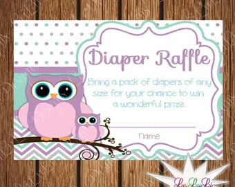 Printable Owl Baby Shower Diaper Raffle Tickets