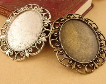 10pcs 40 x 30mm Antique Bronze Cabochon Pendant Base, Oval pendant setting, Oval Pendant Trays, Bezel Cabochon Settings