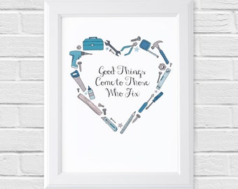 DIY Quote Print - Those Who Fix Collection - A4/A5 Tool Box Illustration
