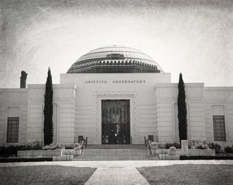 Griffith Observatory, Los Angeles Photography, Hollywood Hills, Landmark, Griffith Park, Black and White Photo, Fine Art Print, Wall Art