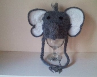 Crochet elephant  hat, baby elephant hat, newborn elephant hat, elephant hat, animal hat, ready to ship