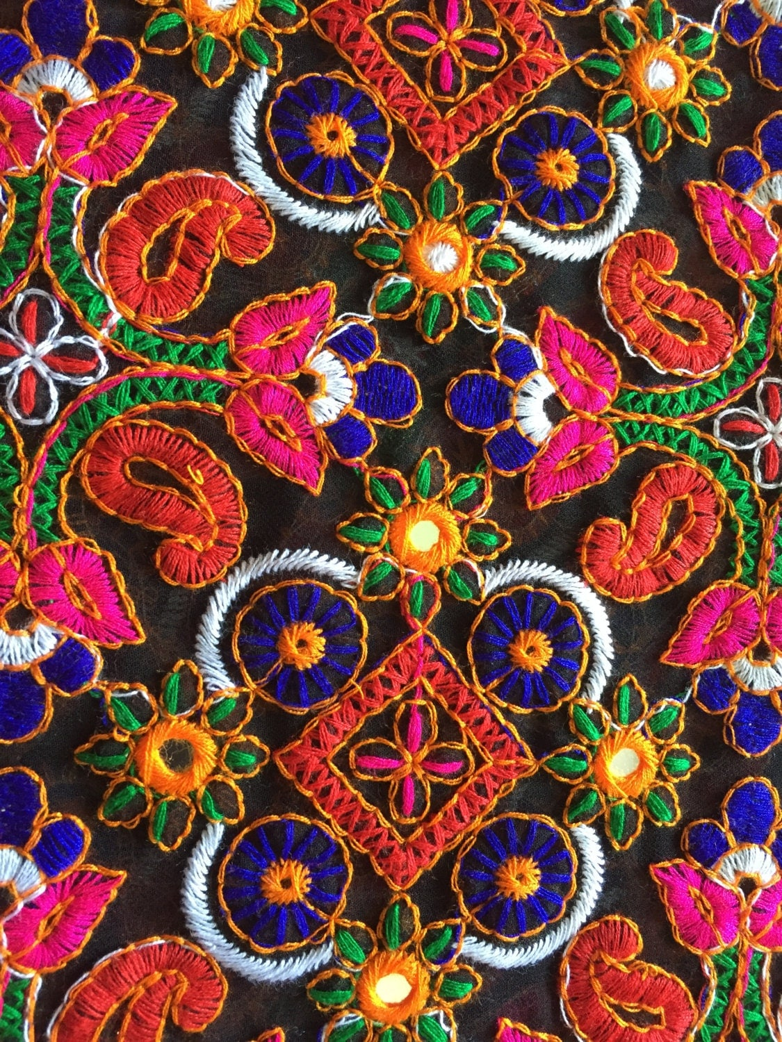 Yard kutch embroidery fabric indian embroidered