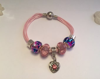 Pink multi charm's strap cords with heart ref 571
