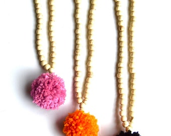 Handmade Pom Pom Necklace- Pom Pom Necklace with Cream Wood Beads, Bridesmaid Gift, Gift for Her, Long Necklace, Beaded Necklace, Cotton Pom
