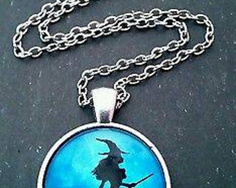 Witch glass dome pendant necklace