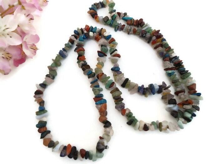 vintage multi gemstone necklace multicolor gemstone chip
