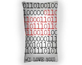 I Love You Binary -  Custom Geek Fabric Cushion Pillow cover Home Decor Thrown Pillow With Inner
