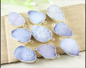3pcs Druzy Agate Gemstone Connectors in Natural Color,Silver Plated Nature Druzy Agate Slice Connectors Pendant for Making Jewelry Findings